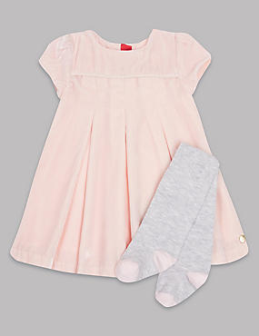 Short Sleeve Velvet Dress with Tights, NUDE PINK, catlanding