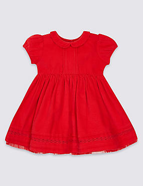 Pure Cotton Cord Baby Dress, RED, catlanding