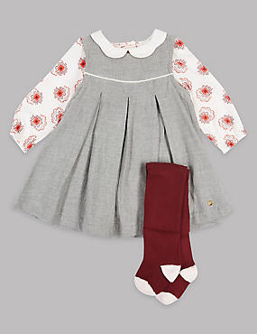 3 Piece Baby Dress & Bodysuit with Tights, GREY MARL, catlanding
