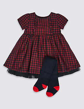 2 Piece Checked Baby Dress & Tights, RED, catlanding