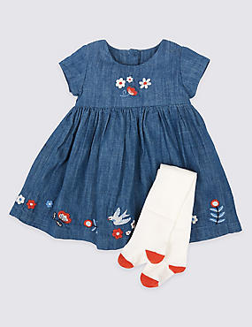 2 Piece Denim Dress with Tights Outfit, DENIM, catlanding