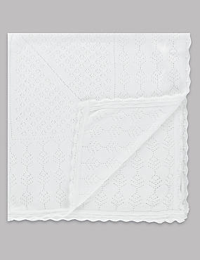 Modal Blend Pointelle Christening Shawl, WINTER WHITE, catlanding