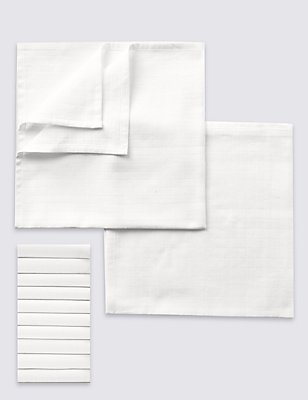 10er-Pack Mulltücher, WEISS, catlanding
