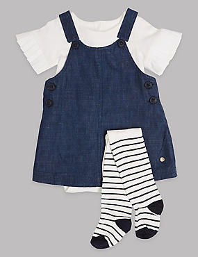 3 Piece Pinafore & Bodysuit with Tights Outfit, LIGHT DENIM, catlanding