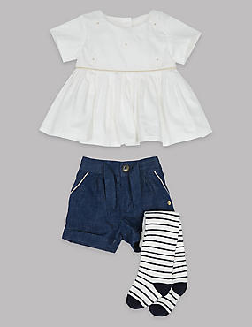 3 Piece Dress & Shorts with Tights, FRESH BLUE, catlanding