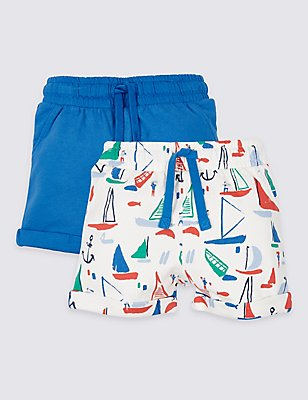 2 Pack Pure Cotton Jersey Shorts, BLUE MIX, catlanding