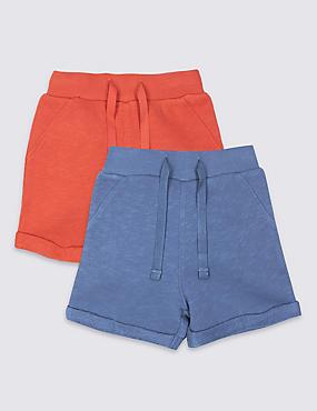 2 Pack Pure Cotton Jersey Shorts , ORANGE MIX, catlanding