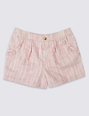 Pure Cotton Criss Cross Check Shorts, PINK MIX, catlanding