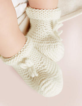 Pure Cashmere Knit Booties (1 - 12 Months), CREAM, catlanding