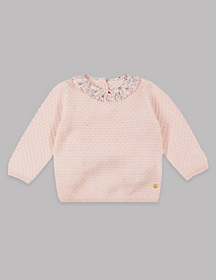 Cotton Rich Frill Collar Knitted Jumper, PINK MIX, catlanding