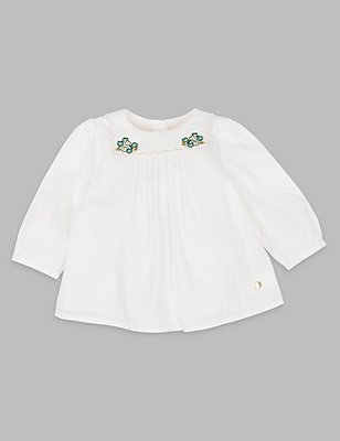 Pure Cotton Embroidered Collar Top, WINTER WHITE, catlanding