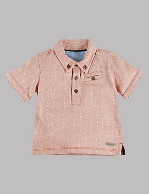 Pure Cotton Polo Shirt, BURNT SIENNA, catlanding