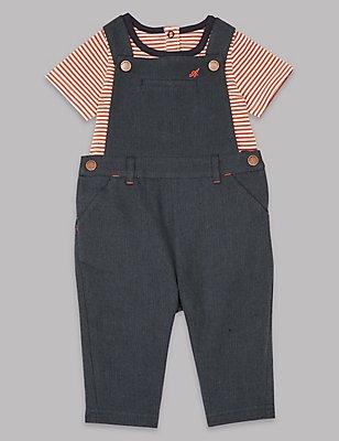 2 Piece Bodysuit & Dungarees Outfit, DARK NAVY, catlanding