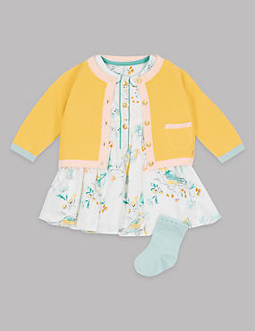 3 Piece Cardigan & Dress with Socks Outfit, GOLD MIX, catlanding