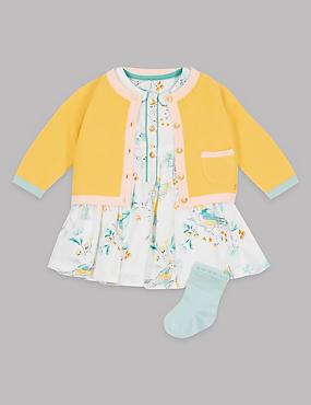 3-teiliges Outfit bestehend aus Strickjacke, Kleid und Socken, GOLD MELANGE, catlanding