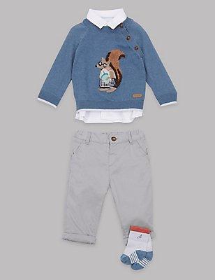 4-teiliges Outfit aus Baumwollmischgewebe, MITTELBLAU, catlanding