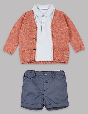 3 Piece Pure Cotton Cardigan & Polo T-Shirt with Shorts Outfit, BURNT SIENNA, catlanding