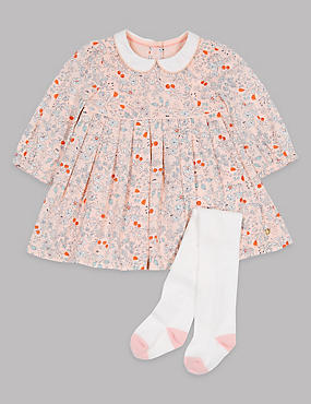 2-teiliges Outfit mit hohem Baumwollanteil, bestehend aus Kleid und Strumpfhose, ROSA BLASS, catlanding