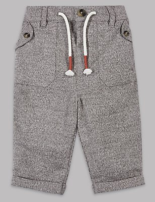 Pure Cotton Textured Trousers, GREY MIX, catlanding
