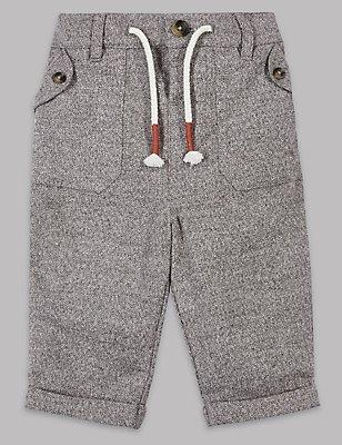 Strukturierte Hose aus reiner Baumwolle, GRAU MELANGE, catlanding
