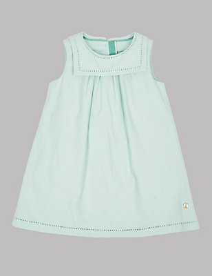 Pure Cotton Sailor Collar Dress, FADED GREEN, catlanding
