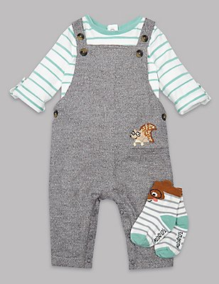 3 Piece Bodysuit & Dungaree with Socks Outfit, MID GREY, catlanding