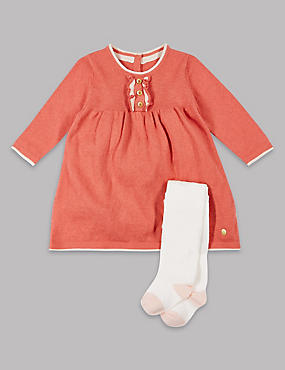 2 Piece Cotton Rich Frill Dress with Tights , PALE PINK, catlanding