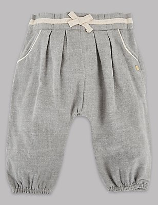 Pure Cotton Pleated Trousers, GREY MARL, catlanding