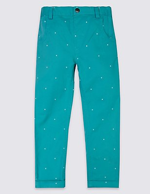 Polka Dot Chino Trousers , AQUA MIX, catlanding