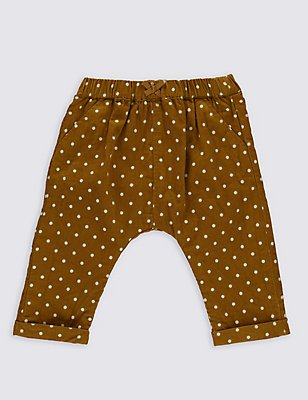 Pure Cotton Spotted Cord Trousers, OCHRE, catlanding