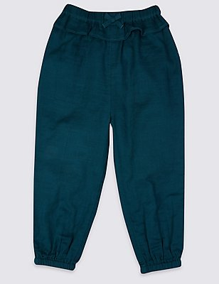 Pure Cotton Pull On Trousers, DARK TURQUOISE, catlanding