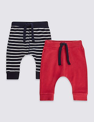 2 Pack Cotton Plain & Striped Joggers with Stretch, RED MIX, catlanding
