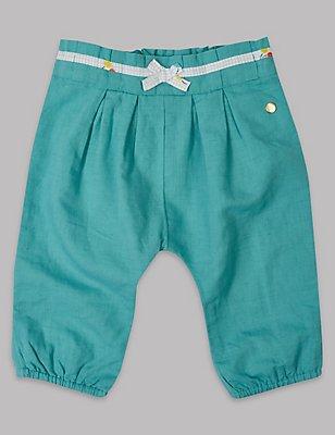 Linen Blend Trousers, LIGHT TURQUOISE, catlanding