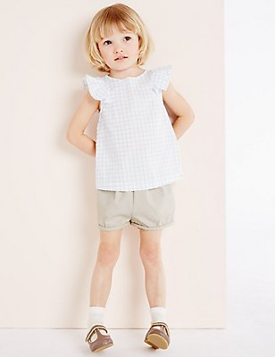 Girls Cotton Textured Shorts with Stretch (3 Months - 5 Years), LIGHT PUTTY, catlanding
