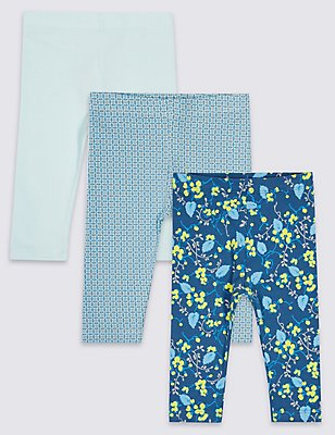 3 Pack Cotton Assorted Baby Leggings with Stretch, BLUE MIX, catlanding