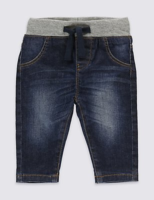 Cotton Rich Pull-on Denim Jeans, DENIM, catlanding