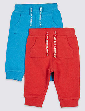 Lot de 2joggings bébés 100% coton, BLEU ASSORTI, catlanding