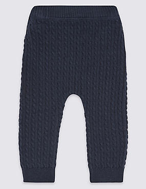Leggings 100% coton en maille torsadée, BLEU MARINE, catlanding
