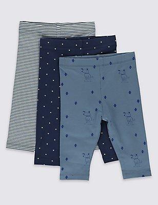 3 Pack All Over Print Baby Leggings , NAVY MIX, catlanding