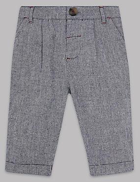 Pantalon texturé 100% coton, GRIS CHINÉ INTERMÉDIAIRE, catlanding