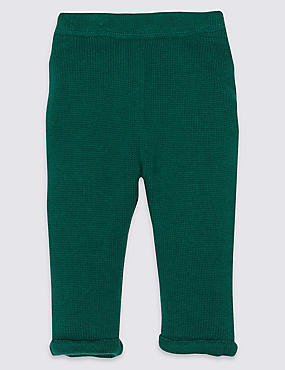 Pure Cotton Knitted Trousers, MOSS GREEN, catlanding