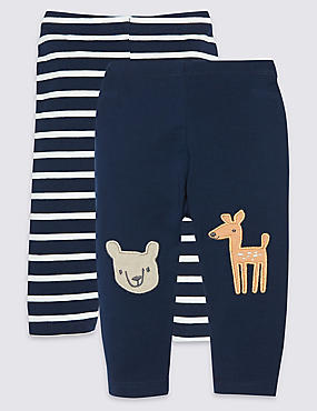 2 Pack Cotton Leggings with Stretch, NAVY MIX, catlanding