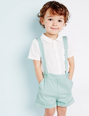 Boys Shorts with Braces (3 Months - 5 Years), GREEN, catlanding