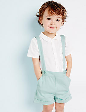Cotton Braces Boys Shorts with Stretch (3 Months - 5 Years), GREEN, catlanding
