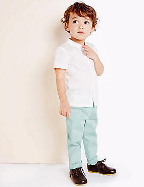 Boys Cotton Chino Trousers with Stretch (3 Months - 5 Years), GREEN, catlanding