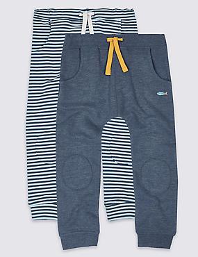 Pack de 2 pantalones deportivos de algodón, MEZCLA DE TONOS AZULES, catlanding