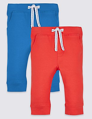 2 Pack Cotton Joggers with Stretch, BLUE MIX, catlanding