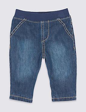 Jeans aus reiner Baumwolle, DENIM DUNKEL, catlanding