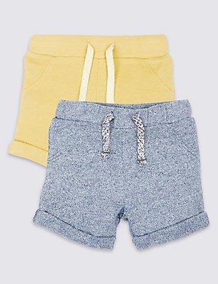 2er-Pack Sweat-Shorts, GELB MELANGE, catlanding