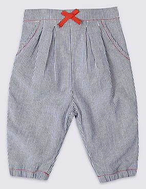 Pantalon 100% coton à fines rayures, BLEU ASSORTI, catlanding